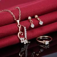 Gold Filled fülbevaló-nyaklánc-gyűrű szett GFSZ18