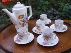 Közel 100 éves, antik Zsolnay porcelán 5 személyes, 12 db-os kávés készlet nagyon szép állpotban