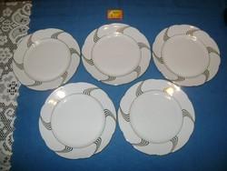 Porcelán lapos tányér arany mintával - öt darab