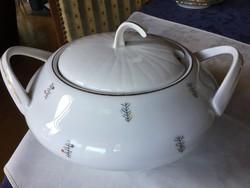 Antik cseh levesestál, tökéletes állapotban, fültő-fülig 26 cm-es