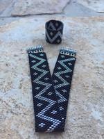 Fekete ezüst karkötő gyűrűvel Peyote