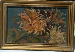 Antik Gerberák - csodálatos, kisméretű, szignált olajfestmény, alkalmi áron