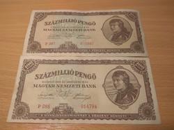 Százmillió Pengő,1946-os szép bankjegyek !