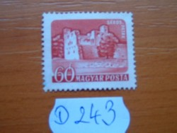 60 FILLÉR 1960 VÁRAK,SÁROSPATAK POSTA-TISZTA D243
