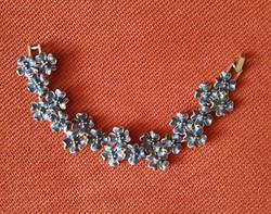 Divat ékszer, tűzzománc, kék, virág karkötő