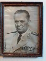 1961. Josip Broz Tito  volt Jugoszláv államfő pártházas portré fali kép 45 X 34 cm