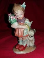 Antik W & A Wagner és Appel Wallendorfi Bertram porcelán figura kislány kutyával hibátlan 13 X 8 cm