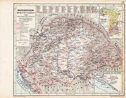 Magyarország térkép 1490, kiadva 1913, eredeti, teljes atlasz, Kogutowicz Manó, történelmi, Mátyás