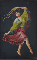 0O323 Spanyol cigány lány selyemkép 46.5 x 33 cm