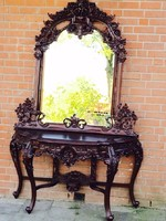 Csodaszép tömör mahagóni faragott tükör konzolasztallal!