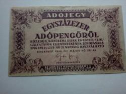 1946-os 100000 Adópengő Elcsuszott nyomat R!