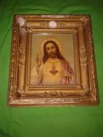 Antik Jézus Krisztus kép, régi múlt századi ikon szerű szentkép keretben
