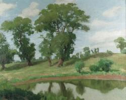 Gáspár J. jelzéssel : Tóparti fák 1907