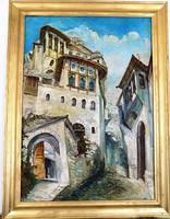 V.I.PAPA:SIKÁTOR.grandiózus,különleges térhatású,gyönyörű mediterrán utcakép,GARANCIÁVAL!!!