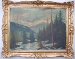 Antik tájkép olajfestmény blondel kerettel 125x100cm