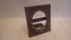 Dobos zsűrizett iparművész fémműves bronz asztali fotó keret