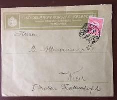 Első Délmagyarországi Kalapgyár Temesvár borítékja 1914-ből
