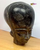 Fekete márvány földönkívüli fej brüszt, szobor, egyedi formabontó ritkaság