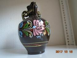 Három füles virágos kerámia korsó-21 cm