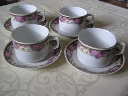 Csehszlovák teás csészék alátéttel, 4 db