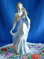 Nagyon szép porcelán hölgy, nő virággal díszített ruhában 27 cm
