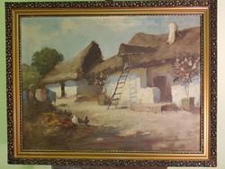 Régi szignózott festmény paraszti udvar