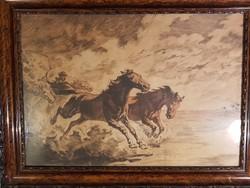 Dinamikus vágtázó lovak - festett rézkarc gyönyörű kerettel