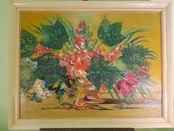 """Brokés Ágnes """" Piros virágok """" festménye"""