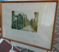 Kádár Katalin rézkarc : Régi utca Budán
