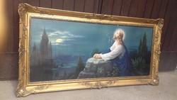 Óriás Blondel keret jelzett Jézus az olajfák alatt szentképpel 136 x 67 csodálatos tükör keretnek is