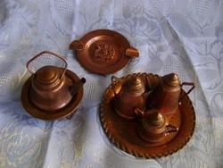 Antik Dél-Amerikai miniatűr készlet rézből dísztárgy szett