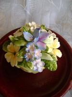 Royal Dalton porcelán virágcsokor kaspóban