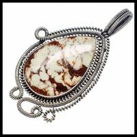 Hatalmas Egyedi kézműves Jáspis 925 ezüst medál