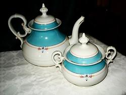 Szép nagy méretű, számozott porcelán teáskanna,,kiöntő + cukortartó,bonbonier elegáns finom mintával