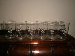 6 db domború szőllőfürt díszítéssel üveg pohár