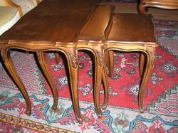 3 darab Warrings chippendél barok kis asztalka
