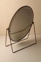 Antik asztali tükör alpakka keretben