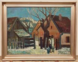 Szamosvári József (1931-) Beszélgetők 89x69cm Képcsarnokos