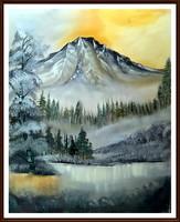 """Árzuhanás,"""" Ködbe burkolózva """" gyönyörű, jelzett tájkép ( keret nélkül), ( 56 x 45, olaj, kortárs )"""