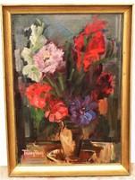 Freytag Zoltán (1901-1983) Virágcsendélet képcsarnokos olajfestménye 76x56cm EREDETI GARANCIÁVAL !!!