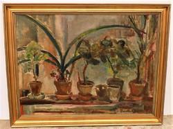 Barta Mária (1897-1969) Virágok c. képcsarnokos olajfestménye 90x70cm EREDETI GARANCIÁVAL !!!