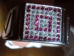 925 ezüst gyűrű rubin, leuko topáz, 18,7/58,7 mm
