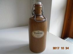 """""""Tradition""""-kerámia """"kő""""palack-porcelán csatos dugóval-M.K.M.-0,7 l-23 cm"""