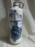 Holland Delft porcelán füles palack 25 cm.