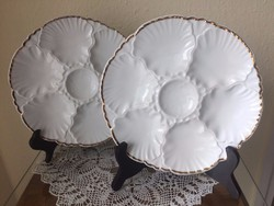 Cerabel Porcelaine De Baudour porcelán kagylós tányér arany szegéllyel párban