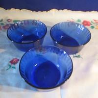 3 db Kék üveg kompótos tálka A077