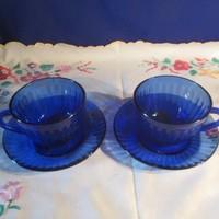 Kék üveg teás kávés csésze A077
