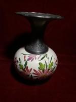 Gemalt porcelán váza gyönyörű ón díszítéssel