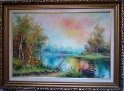 Czinege Zsolt : Csónak a parton festménye.KARÁCSONYI AJÁNDÉK ÁRON!!!