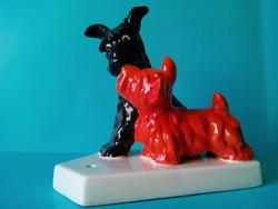 Antik ritkaság eredeti GOEBEL porcelán kutyák kutya terrier pár jelzett